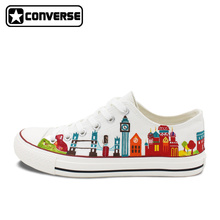 Original Design World Travelling Theme Various City Landmarks Hand Painted Shoes Low Top Converse All Star Unisex Canvas Sneaker