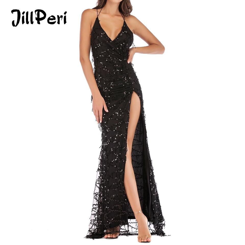 40d2b9d7b1740 US $25.25 49% OFF JillPeri Women Deep V Neck Sequin Dress Sexy Backless  High Leg Open Tassel Elegant Luxury Bling Solid Maxi Party Dress  Vestidos-in ...