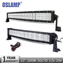 """Oslamp 22 """"200 W Curvada Barra de Luz LED CREE Chips 5D 7D Offroad 4X4 Led Lámpara de trabajo 12 V 24 V del Carro SUV ATV 4WD Camioneta Llevó Barra de Luz"""