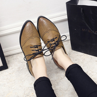 2018 New British Oxford Shoes Woman Lace up Carving Bullock Pointed Toe Slip on Creepers Preppy Leather Derby Shoes Women Flats