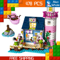 478pcs Friends Heartlake Lighthouse Ice Cream Shop Kat Stephanie 10540 Figure Building Blocks Toys Compatible With LegoING