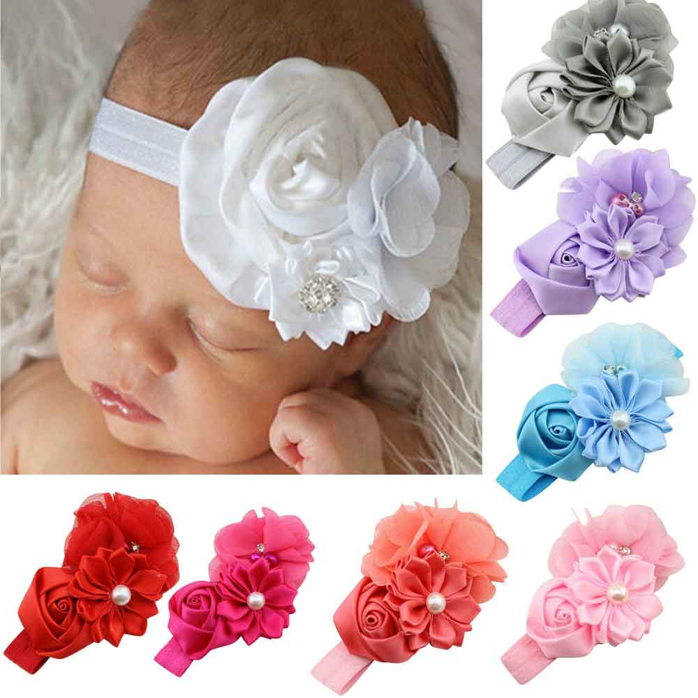 Hair Bands Accessories Children Baby Kids Girls Toddler Newborn Lace Flowers Pearl Rhinestone Hairband Headband Headwear Jan10 pretty girls boutique shining glitter bow hair bands for dance party children toddler hair accessories