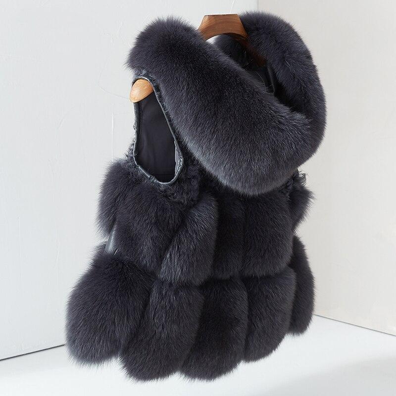 Las mujeres es Real de piel de zorro chaleco con capucha chaqueta gruesa piel Natural abrigo mujer chaleco Chaleco de invierno genuino chaleco piel de zorro con capucha de piel