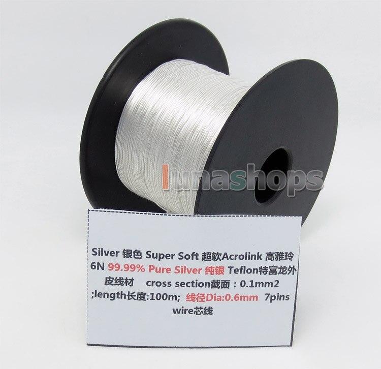bilder für 100 mt A + + 30AWG Acrolink Reinem Silber 99.9% Signal Tefl Draht Kabel 7/0. 1mm2 Durchmesser: 0,6mm für DIY Kopfhörer Kopfhörerkabel Benutzerdefinierte