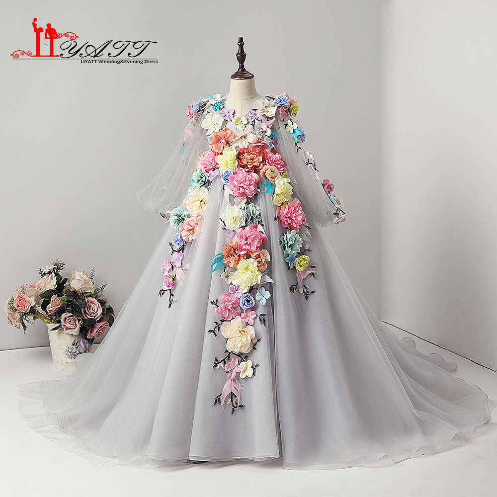 LIYATT Real Photo Mult Color Princess Long Elegant 3D Handmade   Flower   Cute Grey   Flower     Girl     Dress   2018 New Arrival