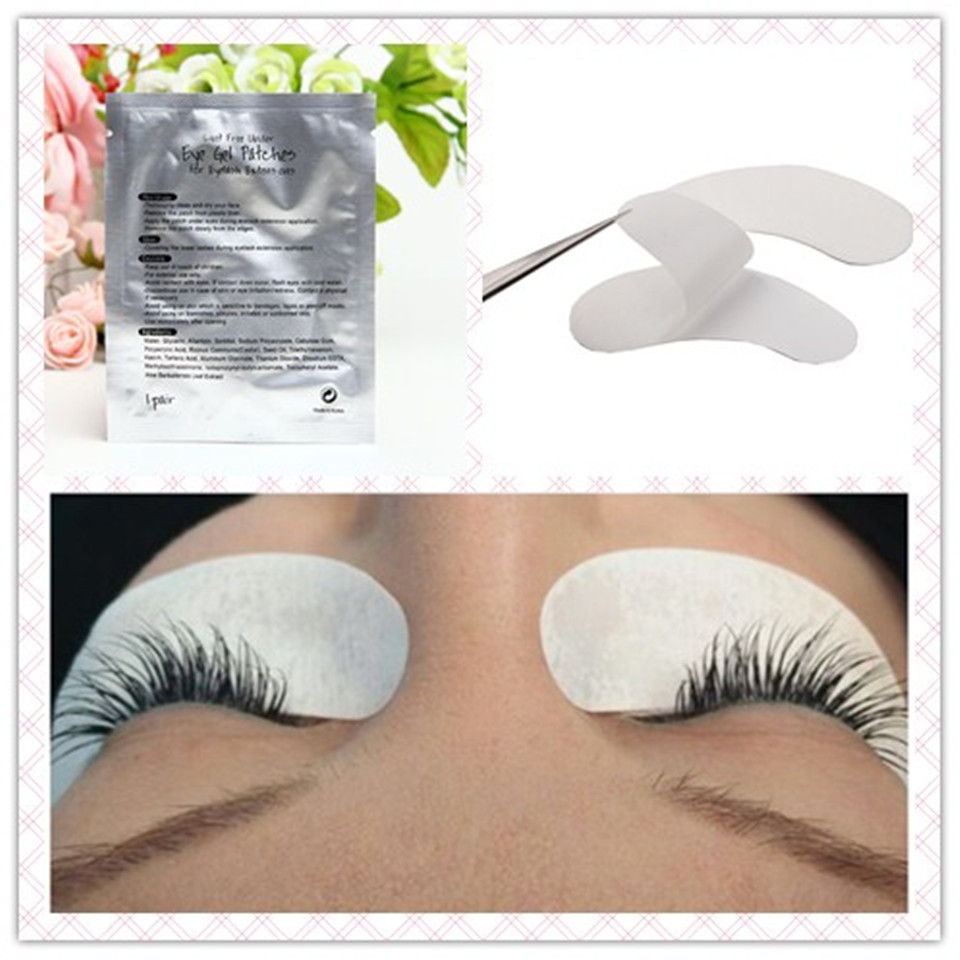 100 Pairs/Bag Eye Pad for Eyelashes Extension Silk Korea Material Eye Gel Pad Makeup Eye Patch for Eyelash Extension Lint Free