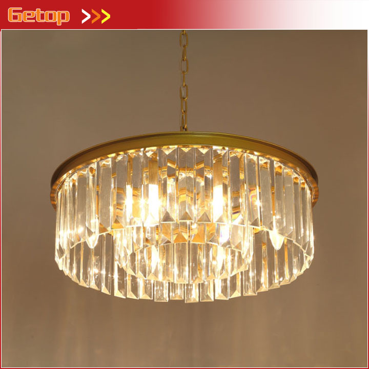 цены Vintage Round Crystal Chandelier LED Retro Suspension lamp Chandeliers Light Living Room Restaurant Hotel Hanging Lighting