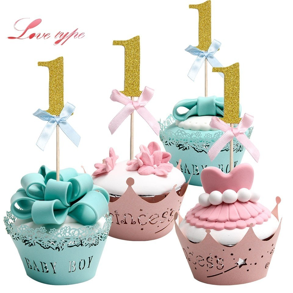 10PCS blue&pink Cupcake Toppers Home Birthday Party Decoration Baby 1 year old 1st Birthday Party Cake topper Supplies