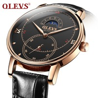 Watches Men Luxury OLEVS Black Leather Wrist Watch For Mens Rose Gold Watch Man Waterproof Relogio Masculino Casual Male Clock
