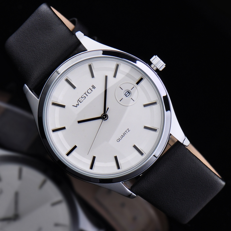 2016 WHESTCHI watches men qulity mens quartz watch genuine leather fashion dress business waterproof 30 m