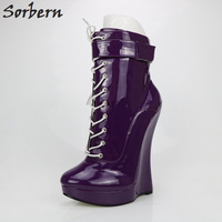 Sorbern Purple Shoes Woman Boots Ankle High Wedge High Heels Lace Up Ladies Shoes With Heels Custom Wedges Shoes For Women