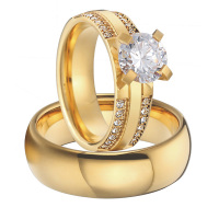 luxury custom titanium jewelry cubic zirconia gold color alliance men and women wedding engagement ring sets