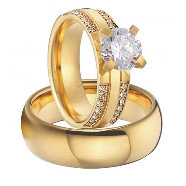 luxury custom titanium jewelry cubic zirconia gold color alliance men and women wedding engagement ring sets