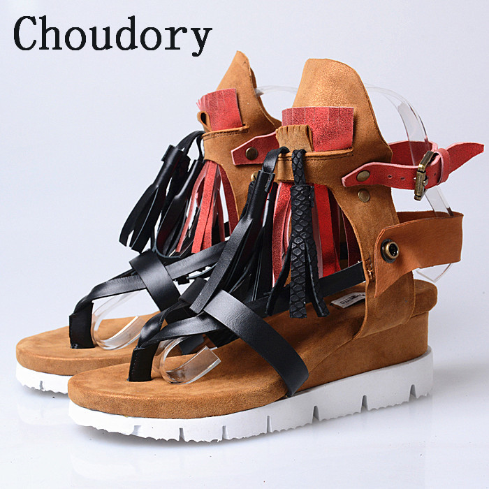 Choudory Fashion Bohemia Women Genuine Leather Summer Sandals Casual Platform Wedge Shoes Woman Fringed Gladiator Sandal Wedges woman fashion high heels sandals women genuine leather buckle summer shoes brand new wedges casual platform sandal gold silver