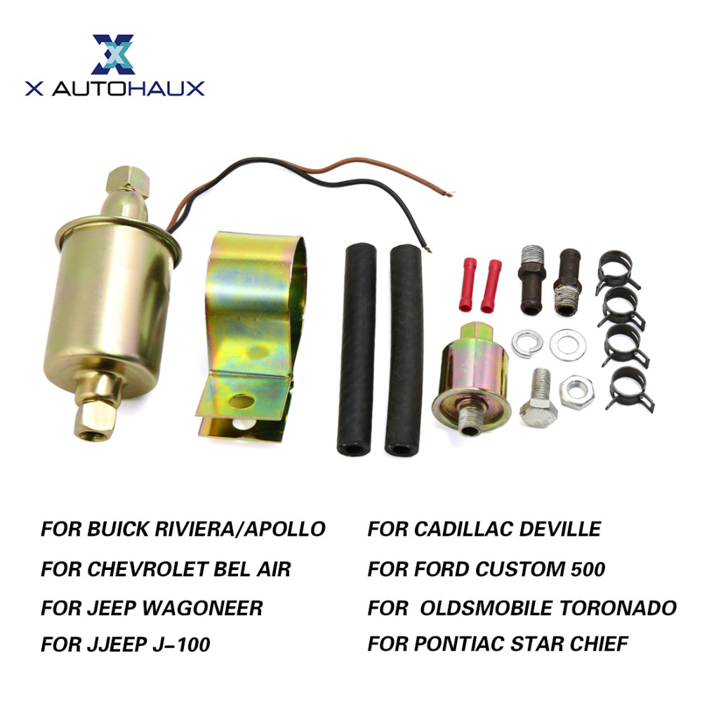 X AUTOHAUX GA8012S E8012S 12V Universal Low Pressure Electric Fuel Pump w/ Installation Kit For Jeep For Ford For Chevrolet