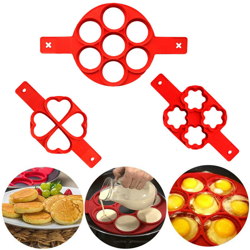 Nonstick Pancake Mold Maker Silicone Egg Ring Maker Easy Flip Breakfast Omelette Tools Kitchen Gadgets Cooking Tools mx3081740