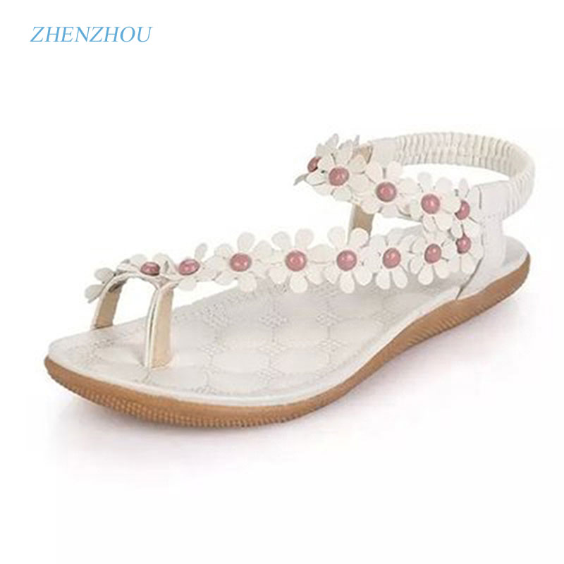 Free shipping Slippers 2017 Bohemia summer sandal shoes pinch the new clip toe flowers flat han edition with beach shoes slippers female summer 2016 new version for casual shoes women flat sandals sweet flowers beach shoes free shipping