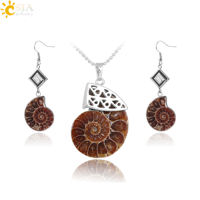 c7085157b CSJA Natural Ammonite Fossils Jewelry Sets Spiral Conch Shell Stone Silver  Color Earring Necklace Hot Sale Beach Jewellery F669