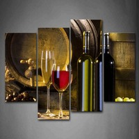 Framed Wall Art Pictures Grape Wine Canvas Print Food Modern Posters With Wooden Frame For Living Room Home Office Decor