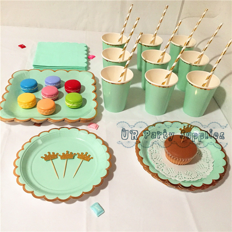 Superb Christmas Party Paper Plates Part - 14: 80 Sets Mint And Gold Party Supplies Table Setting Paper Plates Cups  Napkins Straws For Casino Bachelor Party Christmas Decor