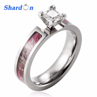 SHARDON Unique engagement Ring Titanium Realtree pink camo ring 4 Prong Setting Princess CZ Rings for women big rings for women