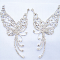 High Quality 19cm 2pcs Clear Crystal Patch Silver Base Sewing Rhinestone Applique