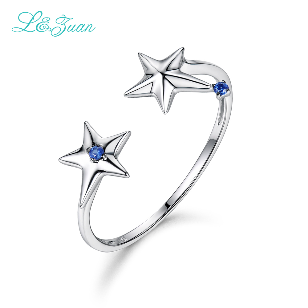 L&Zuan Double Star Sapphire Rings For Women 14K White Gold Natural Gemstone Simple Party Ring Wedding Bands Fine Jewelry 0015-1L&Zuan Double Star Sapphire Rings For Women 14K White Gold Natural Gemstone Simple Party Ring Wedding Bands Fine Jewelry 0015-1