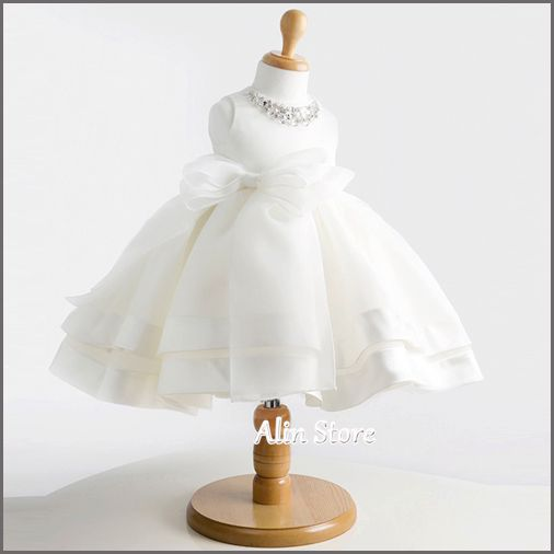 Crystal Baby Wedding Dress,Flower Girl Dress,Vestidos De Festa,Girls Party Frocks,Vetement Bebe Fille,White Baptism Gown,#3W0024
