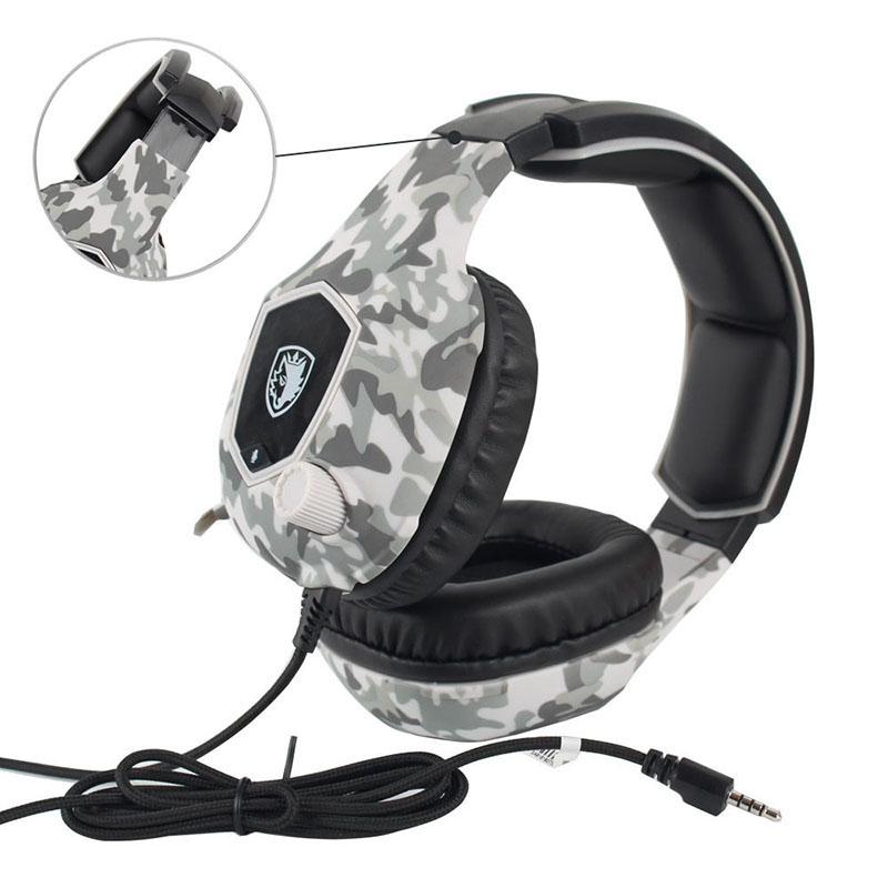 Spiele headsets stereo super bass line control HD mic Professionelle E-sport kopfhörer <font><b>camouflage</b></font> farben tiefe noise reduktion image
