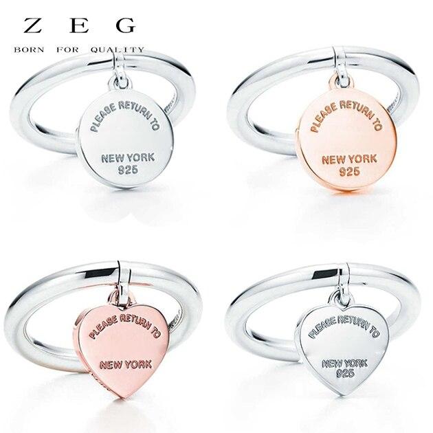 цена на ZEG High Quality 100% Sterling Silver TIFF Original 1:1 Heart-Pendant Ring Has Logo Women Jewelry Free Mail