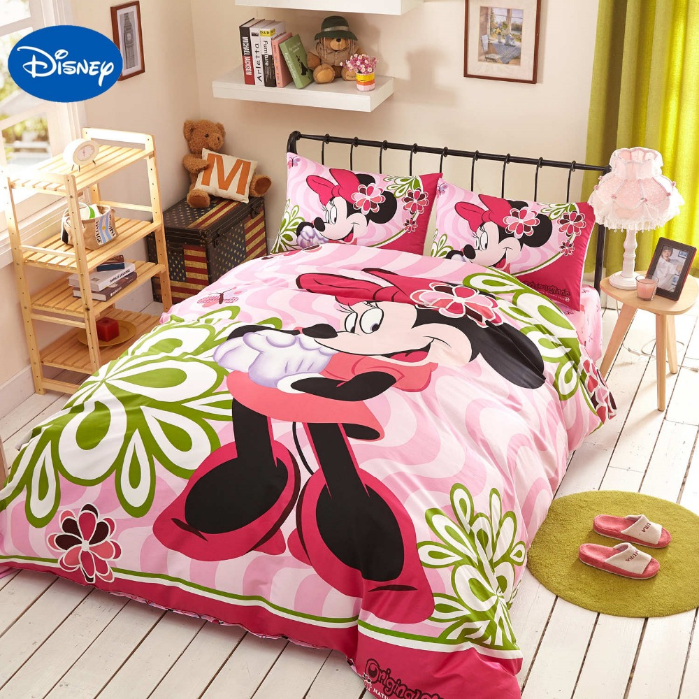 Pink Disney Cartoon Minnie Mouse 3D Bedding Sets for Girls Bedroom Decor Cotton Bed Cover Comforters Single Twin Full Queen Size