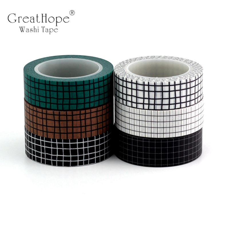 15mmx10m Black White Blue Grid Washi Tape Paper Set Planner Scrapbook Cute Cinta Adhesiva Decor Masking Tapes Office Stationery in Office Adhesive Tape from Office School Supplies