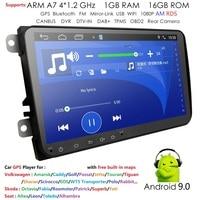 2 Din 9'' quad core Android 9.0 car multimedia GPS for VW Polo Jetta Tiguan passat b6 cc fabia mirror link wifi Radio CD in dash