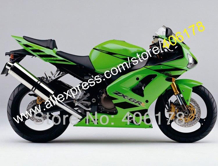Горячие продаж,для Kawasaki запросу zx6r 636 2003 2004 2003-2004 зеленый черный ZX-6р на ZX 6р 03 04 03-04 спортивный обтекатель комплект (литья под давлением)