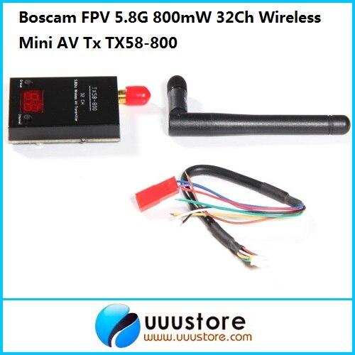 Boscam FPV 5.8G 5.8Ghz 800mW 32Ch Wireless Mini AV Transmitter TX58-800 | RP-SMA, jack 5 8g 600mw mini wireless audio video av transmitter mushroom antenna 32ch tx fpv for gopro hero 3 mobius active 808 sj 4k f11800