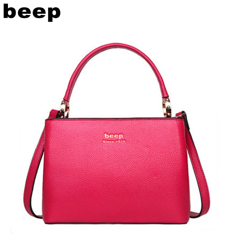 Beep Leather handbags 2018 tide simple killer package Europe and the United States popular ladies handbag Crossbody bag europe and the united states classic sheepskin checkered chain tide package leather handbags fashion casual shoulder messenger b