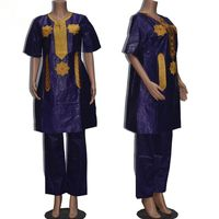 Women traditional african Bazin riche African Long sleeve cotton Embroidery clothing african dress for women with pants 010101