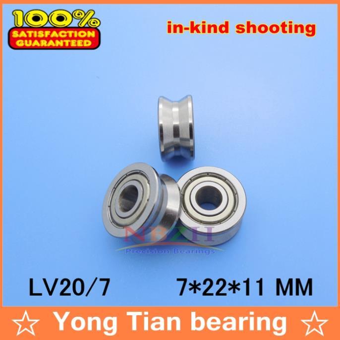 7 мм 0,276 дюймов v паз направляющие роликовые подшипники LV20/7 ZZ V-22 LV2017 RV20/7-10 7*22*11(точные двухрядные шарики) ABEC-5