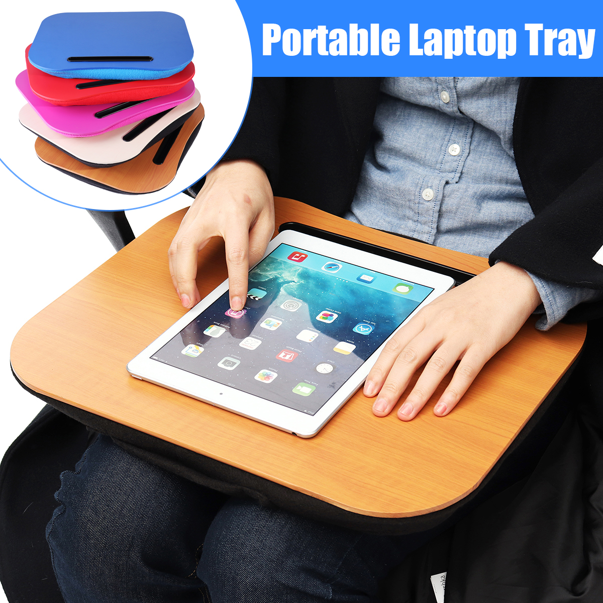 KICUTE Tablet Tray Desk Bed Cushion Office Knee Lap Handy Reading Writing Table Cup Holder Laptop Stand Pillow School Desk Sets