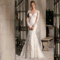 2016 racerback lace long-sleeve fish tail wedding dress mermaid real photo mermaid wedding dress