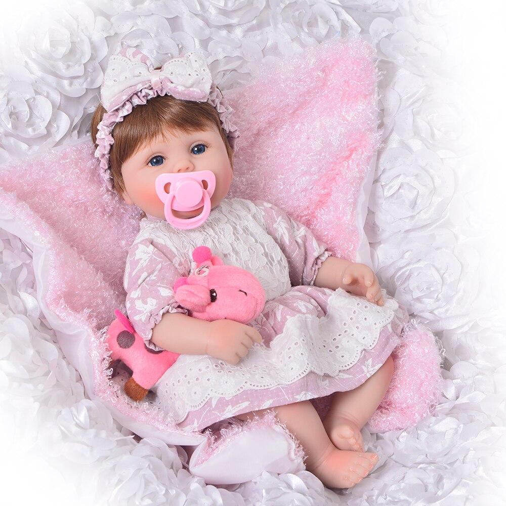 17 pouces Doux Silicone Reborn Poupées lol reborn-baby collection Poupées de couchage infant toddler Enfants Réel tactile bebe De Noël cadeau jouets