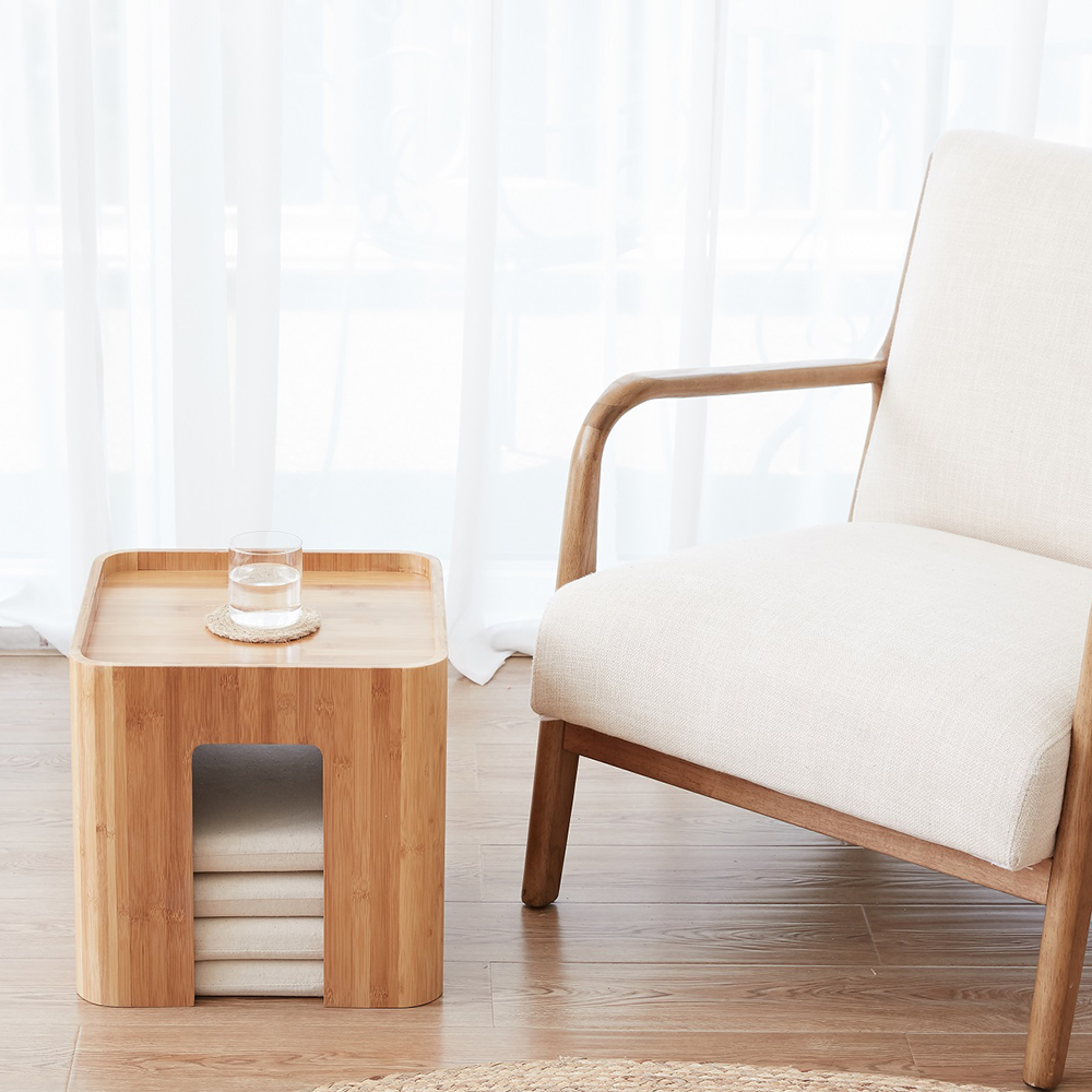 Bambuspall Muti Funktion Tebord med 4 kudde soffbord Tatami - Möbel - Foto 4