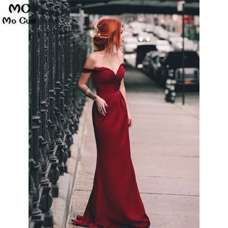 2019 Burgundy Mermaid   Bridesmaid     Dresses   Long V-Neck Short Sleeve Wedding Party   Dress   Off Shoulder Women   Bridesmaid     Dress