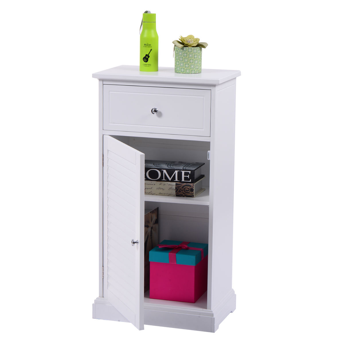 Giantex White Storage Floor Cabinet Modern Wall Shutter Door Bathroom Organizer Wood Cupboard Shelf Home Furniture HW53812 giantex rolling vintage wine cabinet bar stand wood storage holder liquor bottle shelf home furniture hw54830