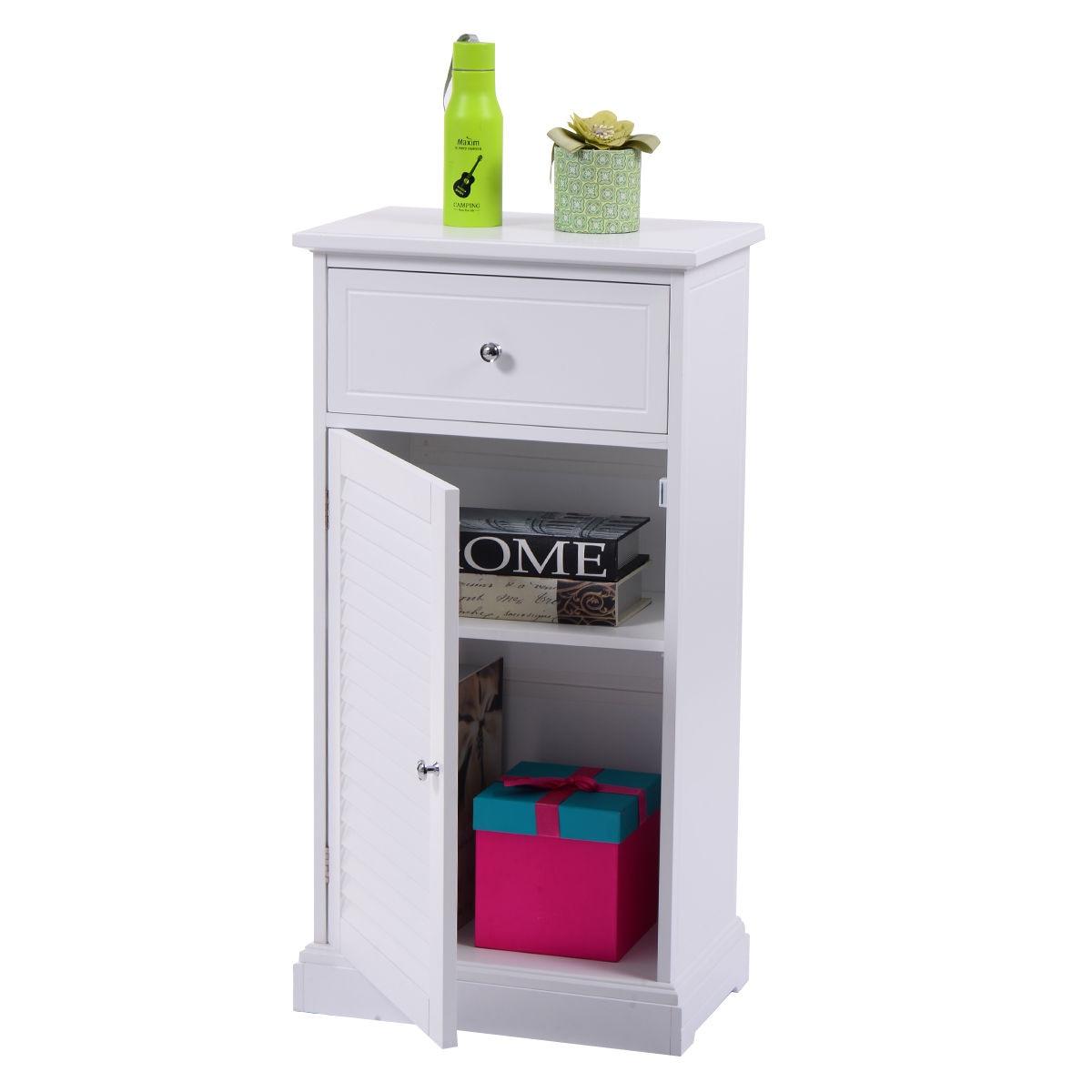 Giantex blanc rangement armoire de sol moderne mur obturateur porte salle de bain organisateur bois armoire étagère meubles de maison HW53812