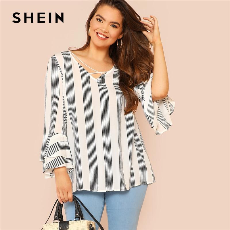 Шеин Черный и белый полосатый крест-накрест спереди воланом рукава Повседневное летний топ женские топы и блузки Плюс Размеры блузка
