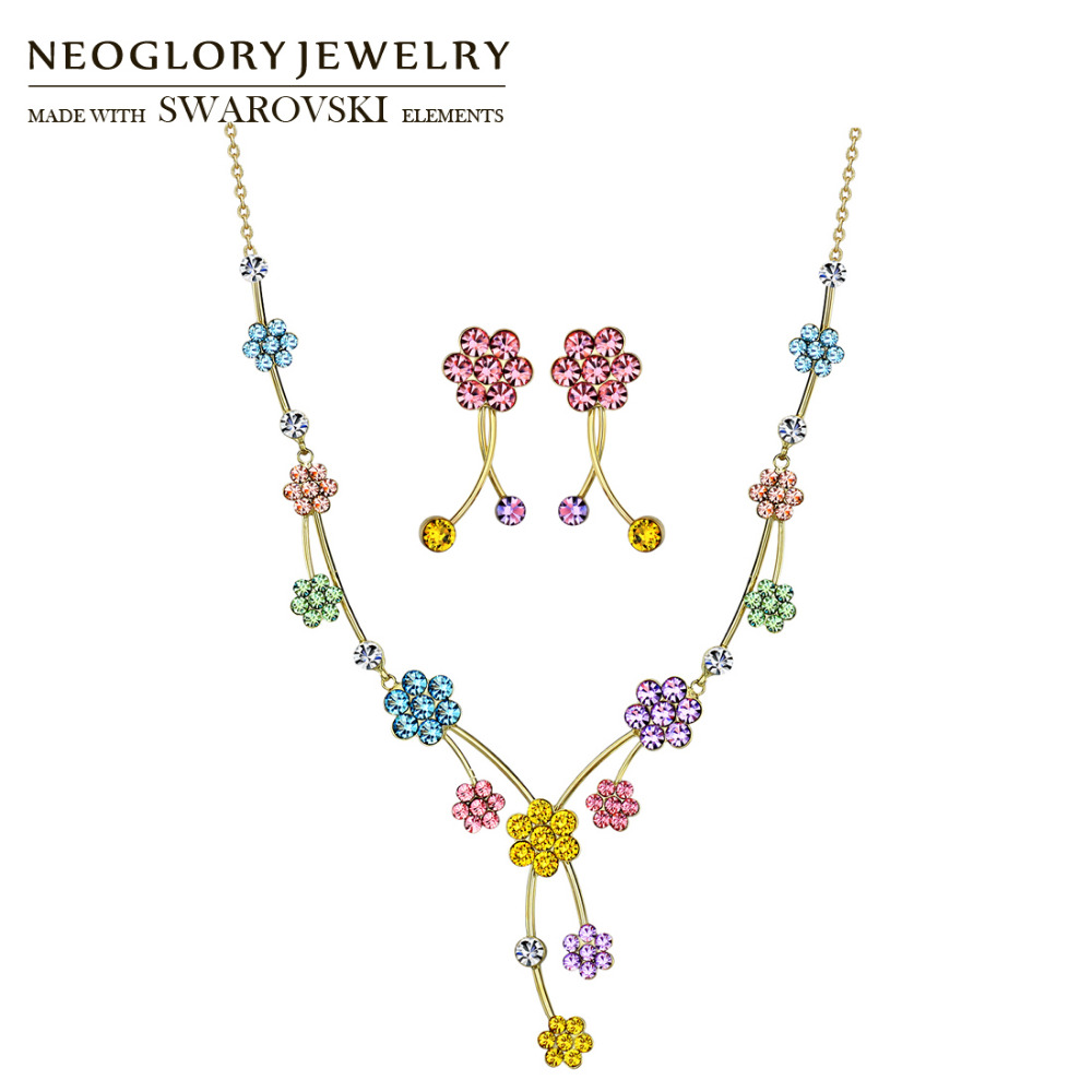 Neoglory MADE WITH SWAROVSKI ELEMENTS Rhinestone Jewelry Set Colorful Flower Party For Women Trendy Necklaces & Earrings Gift