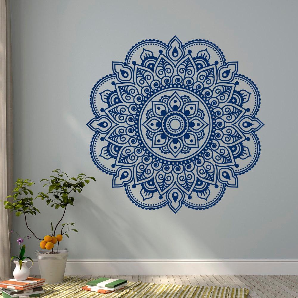Desain Dekorasi Mural Dinding Decal Yoga Lotus Mandala Ornamen Bunga Studio India Meditasi Tidur Bohemian