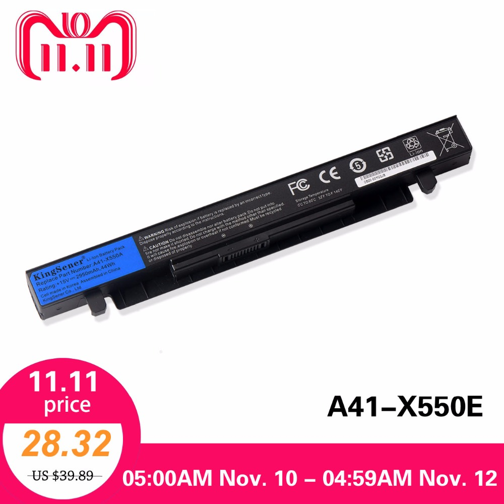 15V 2950mAh Korea Cell New A41-X550A Laptop Battery for ASUS A41-X550 X450 X550 X550C X550B X550V X450C X550CA X452EA X452C a41 x550a battery for asus a41 x550 x450 x550 x550c x550b x550v x550d x450c x550ca a450 8 cells