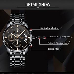 Image 3 - Часы наручные NIBOSI мужские с хронографом, спортивные деловые Кварцевые водонепроницаемые в стиле милитари, золотистые
